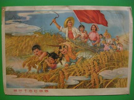 shenjintianzhangbiwu432theredflagfliesabovetheworkersharvestingtheterracedfields1959offsetpaper.JPG